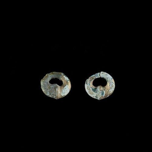 TWO INDIVIDUAL GOLD EAR ORNAMENTS, ÓC EO CULTURE Óc Eo Culture, Mekong Delta, 3r…