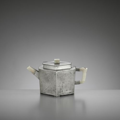 A HEXAGONAL PEWTER ENCASED AND JADE INSET YIXING TEAPOT AND COVER, QING China, 1…