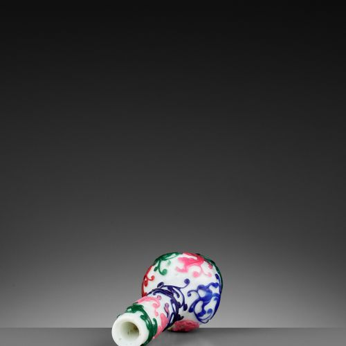 A FIVE COLOR OVERLAY GLASS 'CHILONG' BOTTLE VASE, QIANLONG MARK AND PERIOD China…