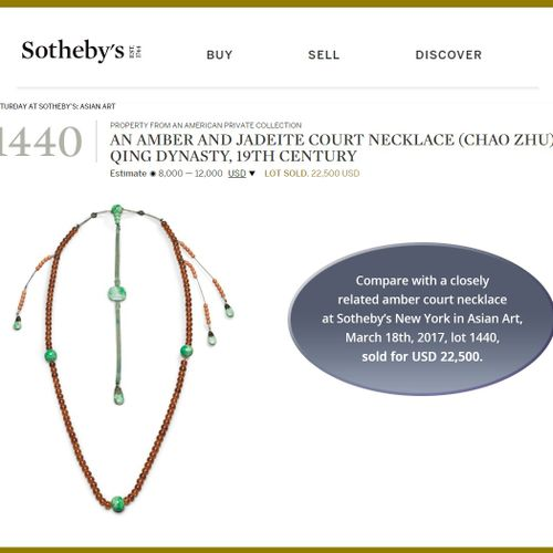 AN AMBER AND JADEITE COURT NECKLACE (CHAO ZHU), QING DYNASTY China, 19 th centur…