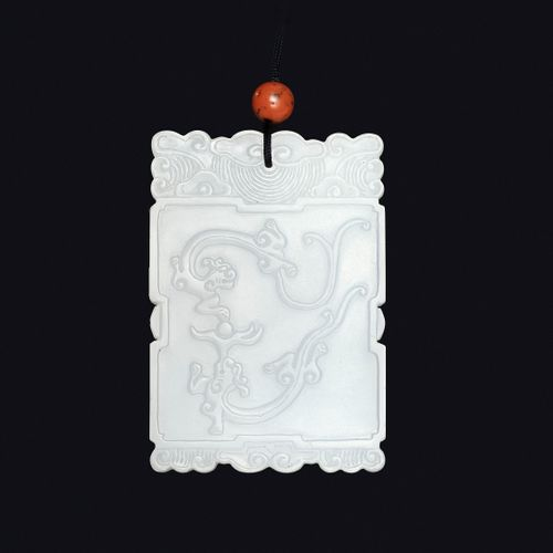 A WHITE JADE 'FUGUI' PLAQUE, MID QING TO REPUBLIC China, 1750 1949. Of rectangul…