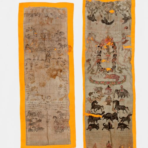 A PAIR OF PAINTED SILK CEREMONIAL SCARFS, KHATA,18TH 19TH CENTURY Tibet. Waterco…