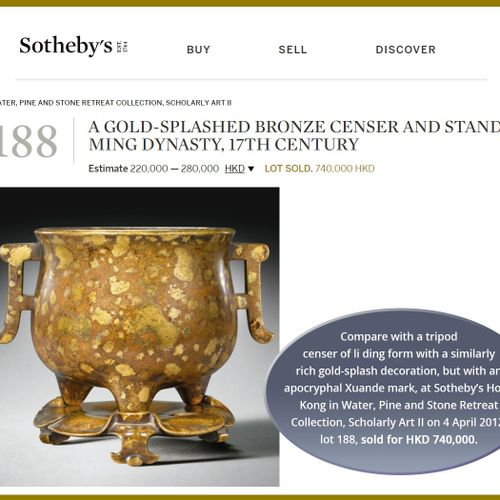 A 'YUTANG QINGWAN' GOLD SPLASHED BRONZE BOMBÉ CENSER, 17TH CENTURY China. The go…