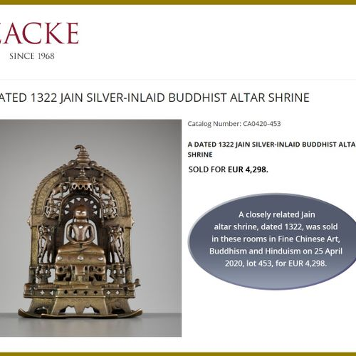 A JAIN COPPER AND SILVER INLAID BRONZE ALLOY ALTAR SHRINE Western India, Rajasth…