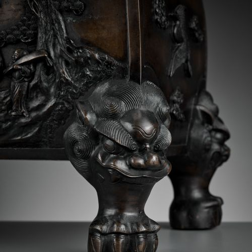 A LARGE 'KUI XING' BRONZE CENSER AND COVER, 17TH 18TH CENTURY China. The god of …