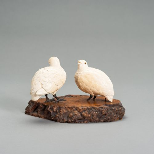 AN IVORY OKIMONO GROUP OF TWO QUAILS AN IVORY OKIMONO GROUP OF TWO QUAILS Japan,…
