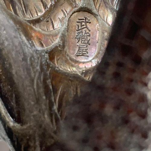 MUSASHIYA: A FINE AND RARE SILVERED OKIMONO OF A PAIR OF CRANES MUSASHIYA: A FIN…
