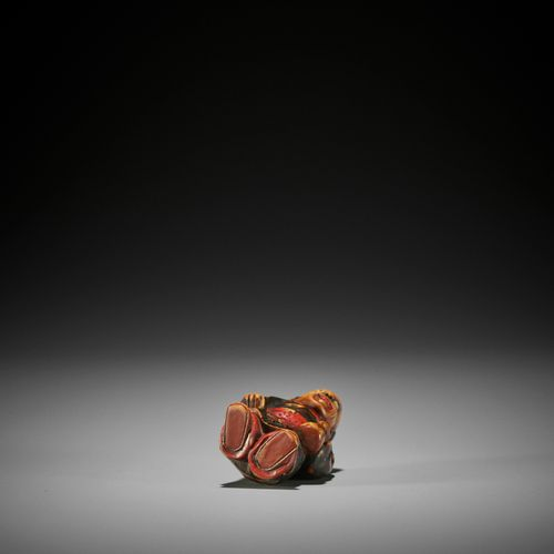 A LACQUERED WOOD NETSUKE OF A KARAKO, ATTRIBUTED TO SANSHO A LACQUERED WOOD NETS…