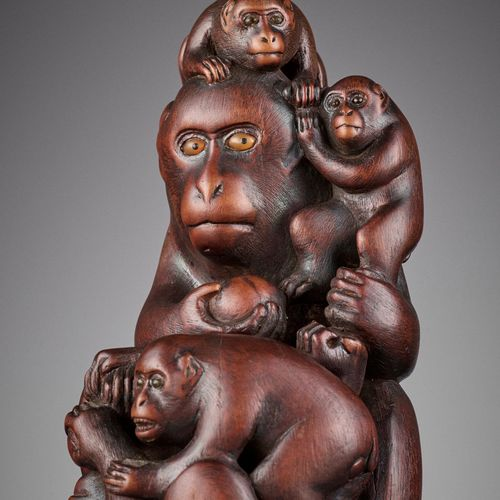 A WOOD OKIMONO OF A MONKEY WITH FOUR YOUNG A WOOD OKIMONO OF A MONKEY WITH FOUR …