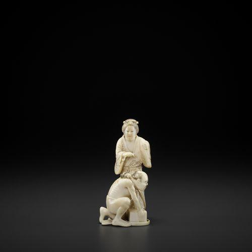SEIDO: IVORY OKIMONO OF A RAT CATCHER WITH BIJIN SEIDO: IVORY OKIMONO OF A RAT C…
