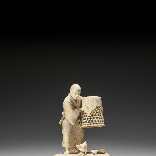 MUNEHIRO: AN IVORY OKIMONO OF A MAN WITH CHICKENS MUNEHIRO: AN IVORY OKIMONO OF …