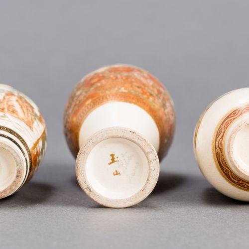 THREE SATSUMA VASES THREE SATSUMA VASES Japan, Meiji period (1868 1912) Glazed c…