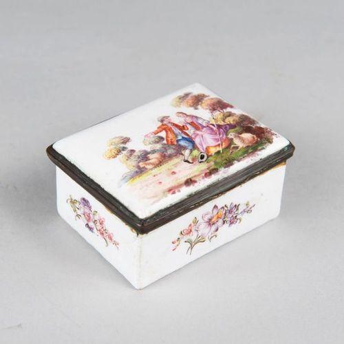 German Snuff Box German Snuff Box, rectangular shape with one lid, painted on en…