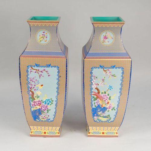 A Pair of Cantonese Vases A pair of cantonese vases porcelain cubic shape with l…