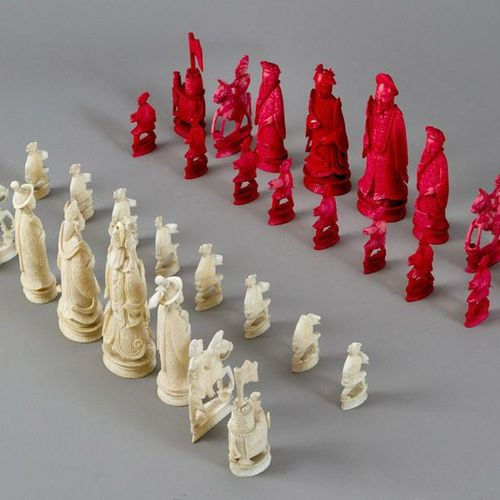 Chinese Chess Set Chinese Chess Set, comprising 32 figures, I. Carved, partly re…