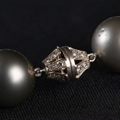 Collier de perles avec des perles de Tahiti, 15 18mm.