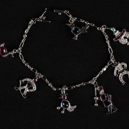 Bracelet de mendiant or blanc 750 avec 7 pendentifs or blanc 750, avec rubis dia…