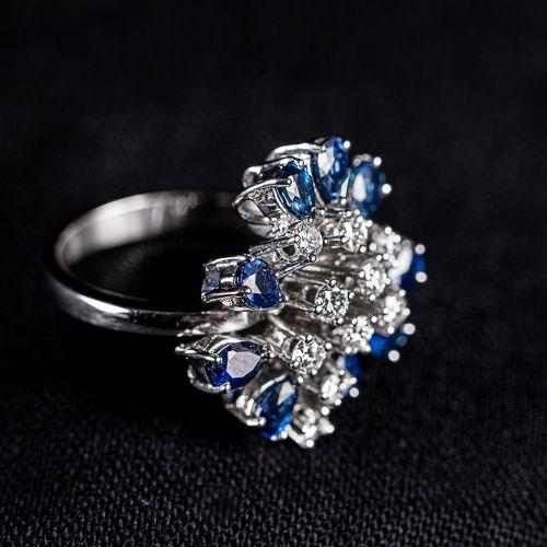 Bague en or blanc 750,avec saphirs de Ceylan et diamants de 0,75 carat couleur D…