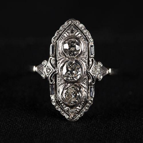Bague en or Art Déco, poinçonnée, avec 3 gros diamants et petits diamants, 0,7 c…