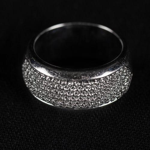 Bague en or blanc 750, avec diamants 0,75 carat, couleur G H,