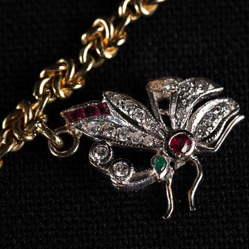 Mendiants Or 585 Bracelet avec pendentifs en or blanc 750, avec rubis, diamant, …