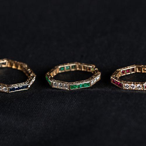 3 bagues en or cannelées, Bague en or octogonale 585, gravée de diamants de 0,61…