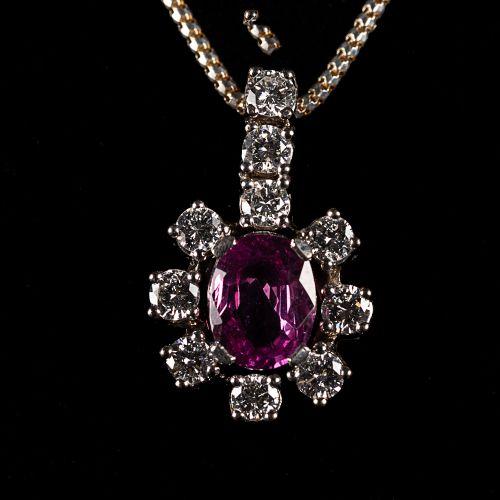 Collier en argent 925, avec pendentif en or blanc 585 avec 10 Diamants 1,2 carat…