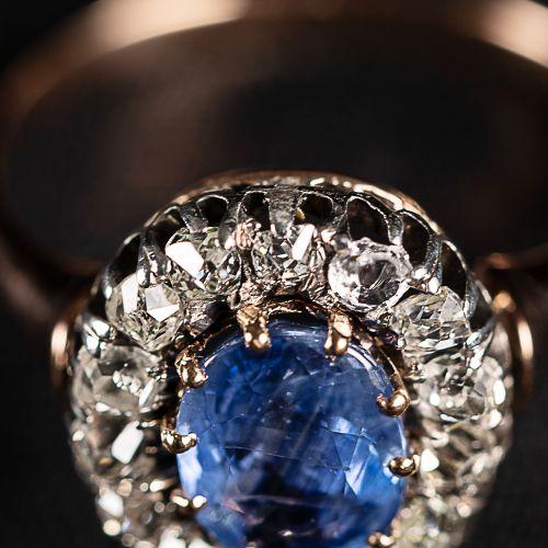 Bague en or avec saphir de 1,2 carat et diamants de 0,6 carat