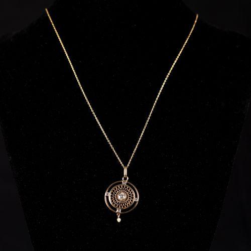 Collier en or, poinçonné 18 carats, avec pendentif Jugendstil avec perle et Diam…