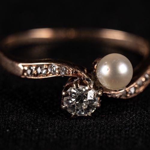 Bague en or 14k avec diamants 0,25K et perle d'orient ; um 1900