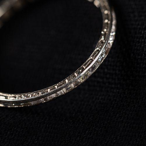 Bague en or blanc 585, Bague éternité, Diamants 0,38 carat, taille 56, gravée