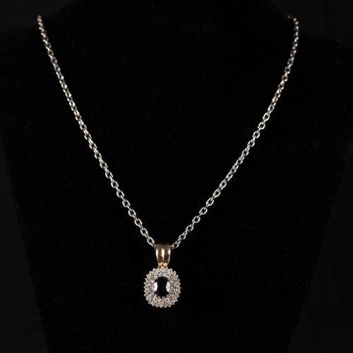 Collier avec pendentif en or 585 et Diamants de 1,2 carat et un saphir de 1,5 ca…