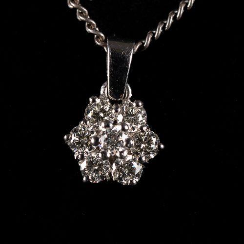 Collier en argent 835, avec pendentif en or blanc et diamants de 0,5 carat