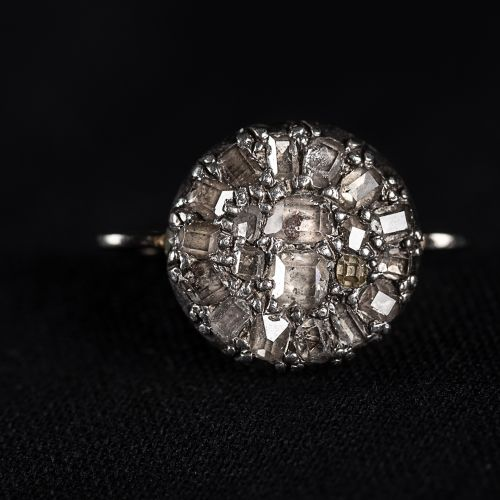 Bague en or 585, avec de vieux diamants taille table 1 carat au total ,