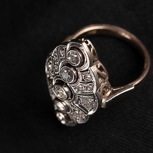 Bague en or Art Déco 585, avec un gros diamant de 5 carats, et un petit diamant …