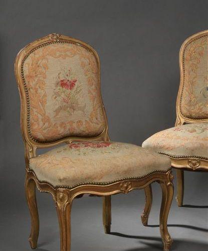 Paire de chaises en bois mouluré, sculpté et redoré estampillées Tilliard d'époq…