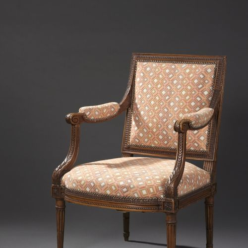 Beautiful molded and finely carved wooden armchair by Georges Jacob, Louis XVI p…