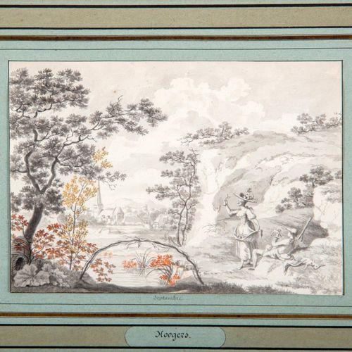 Hendrick HOOGERS (1747 1814)  Avril et Septembre  Deux lavis, mine de plomb, reh…