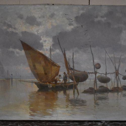 École Française du début du XXe siècle  La pêche  Huile sur toile.  Signée E. D'…