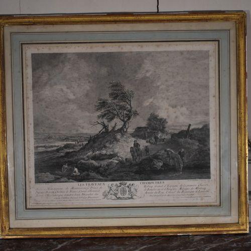 D'après Philips WOUWERMAN (1619 1668)  Les travaux champêtres  Gravure  35 x 41 …