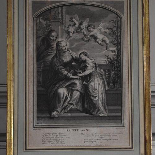 D'après Peter Paul RUBENS (1577 1640)  Sainte Anne  Gravure  36,5 x 24,5 cm (à v…