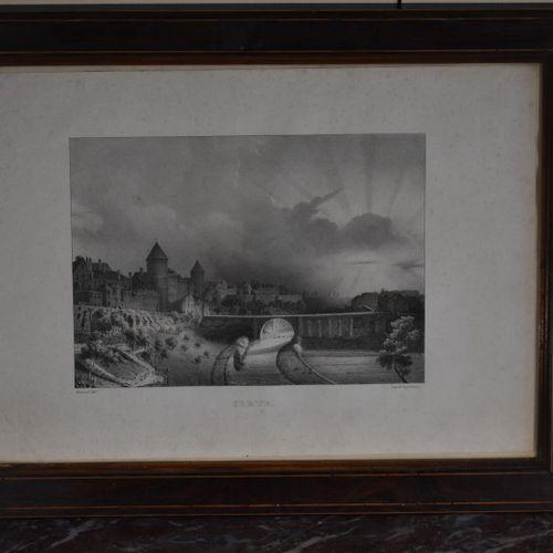 Jean Baptiste BIZARD (1796 1860)  Semur, le Pont Joly  Lithographie  28,5 x 42 c…