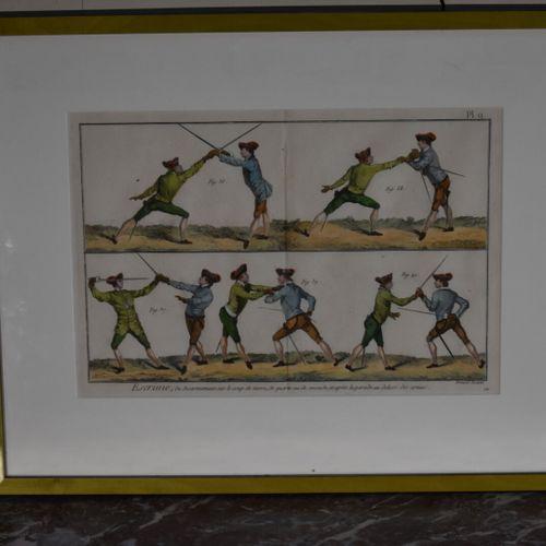 Robert BENARD (1734 c.1786)  Escrime  Gravure en couleur  24 x 36 cm (à vue)