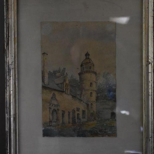 École FRANÇAISE du XIXe siècle  Vue d'un manoir  Aquarelle.  22 x 14 cm