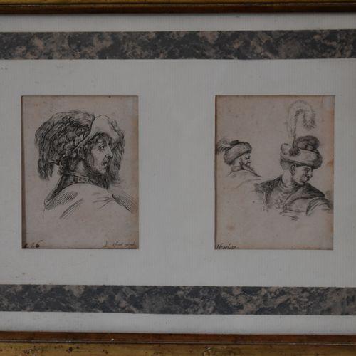 Israël Silvestre (1621 1691)  Têtes d'hommes  Deux eaux fortes.  9 x 7 cm