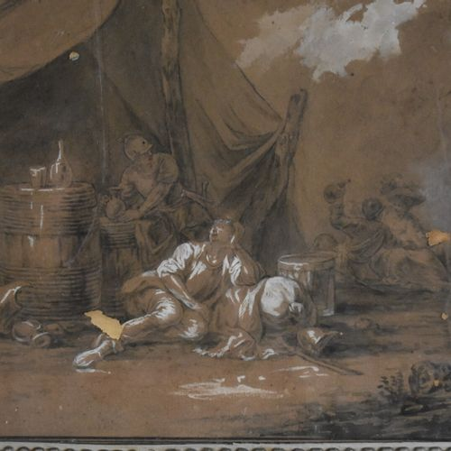 Ecole française de la première moitié du XVIIIe siècle  Scènes de guerre  Mine d…