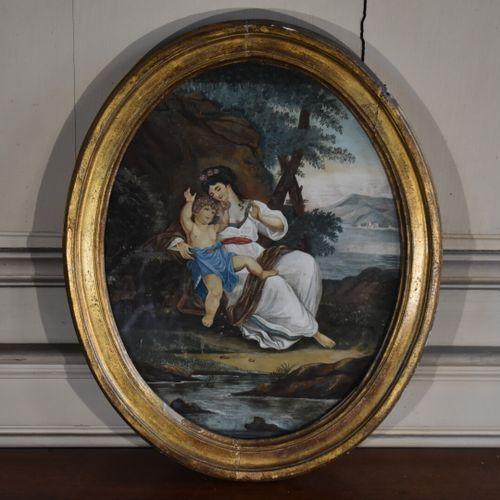 Ecole française du XIXe siècle  Femme à l'enfant  Aquarelle  39,5 x 30,5 cm (à v…