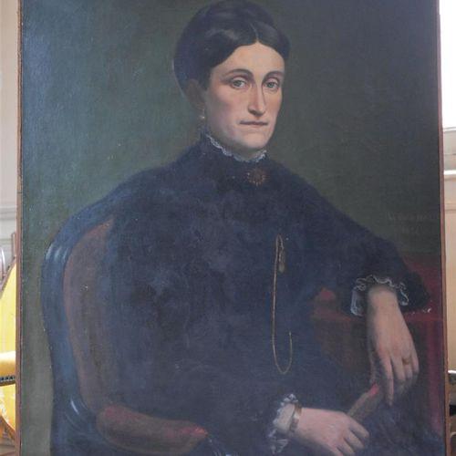 L. BONNAL (XIXe siècle)  Portrait de femme à la châtelaine, 1886  Huile sur toil…