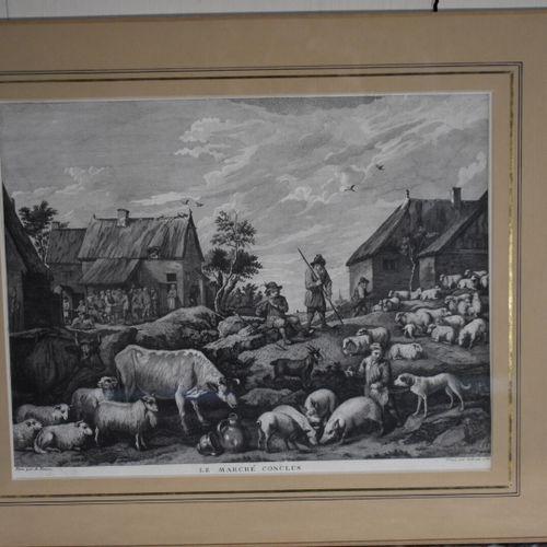 D'après David II TENIERS (1610 1690), gravé par GABRIELLI  Le marché à faire et …
