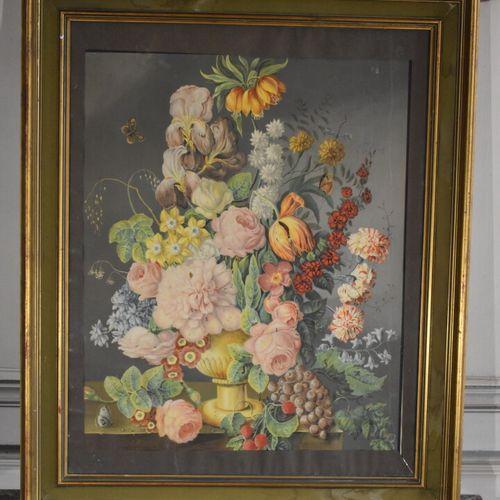 D'après Joseph NIGG (1782 1863)  Bouquet de fleurs  Lithographie en couleurs  60…